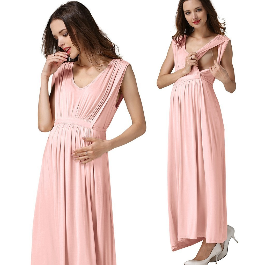 New Maternity Breastfeeding Dresses Women Solid Sleeveless Comfy Layered Nursing Long Dress Photography Props Cotton Clothing