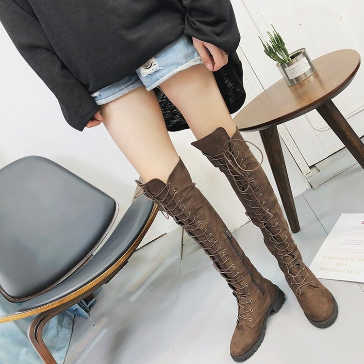 Over The Knee Long Boots Women Autumn Winter Sexy Black Thigh High Boots Fashion Lace Up Ladies Shoes Plus Size Botas Mujer