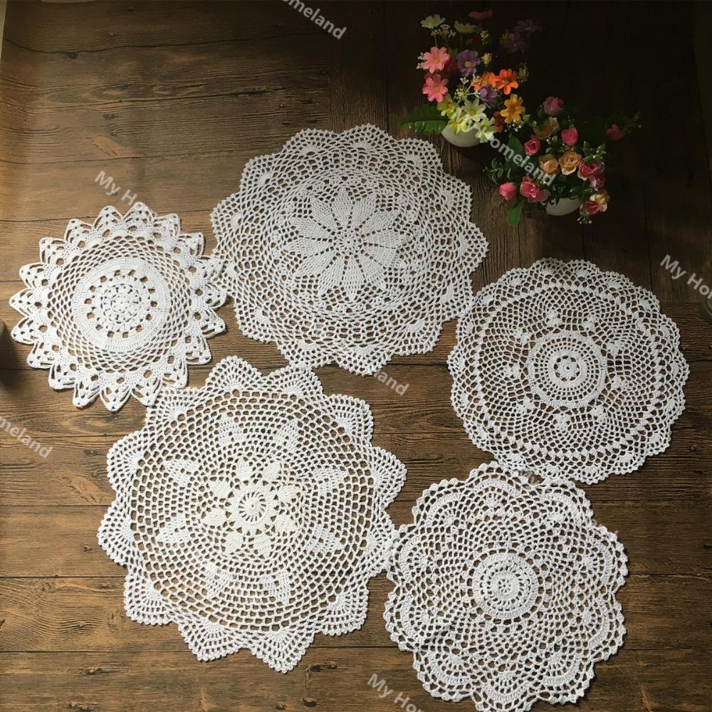 Crochet Cotton Round Doily 40cm Beige
