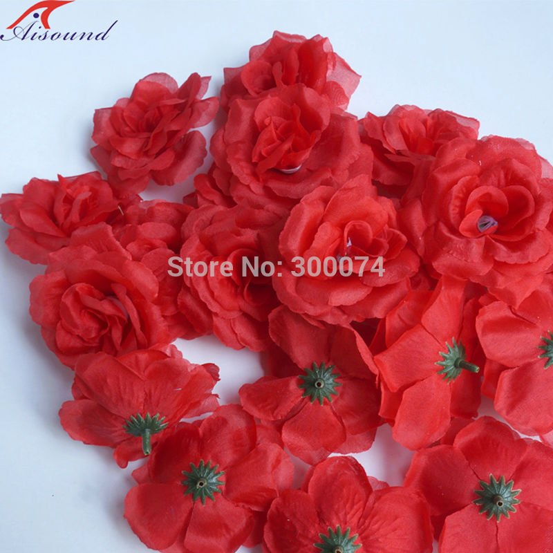 Red craft flowers