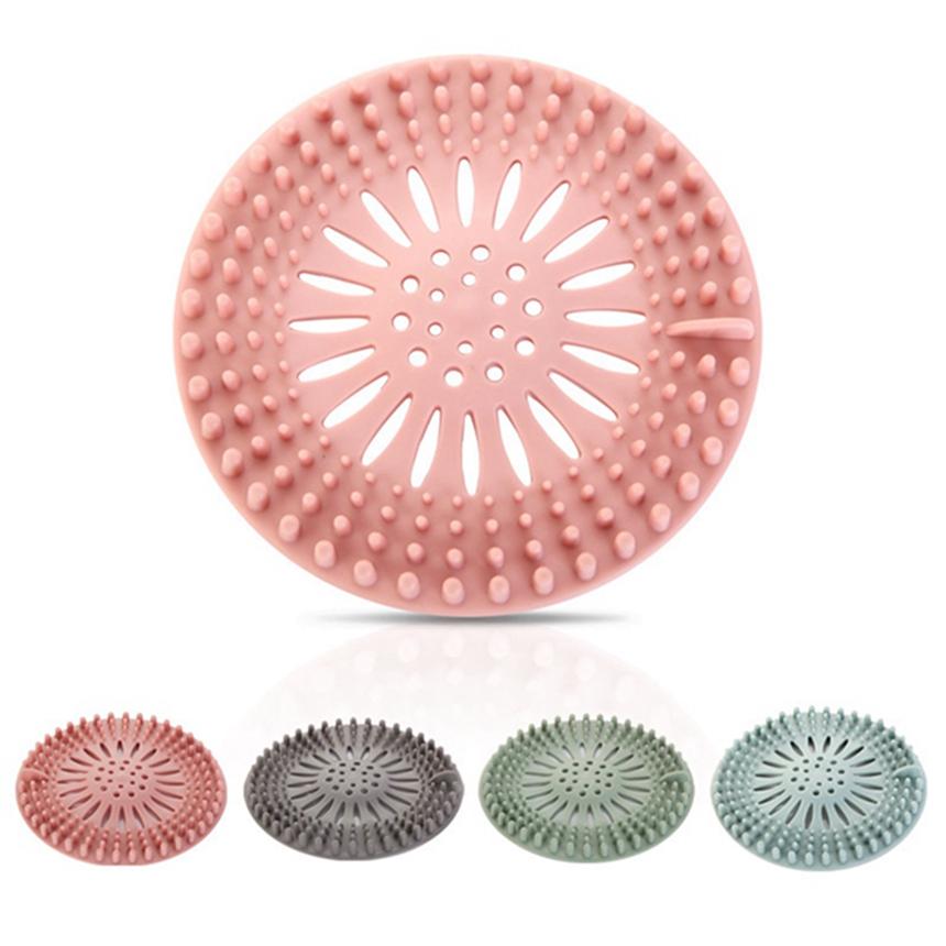filtro de fregadero de colector de pelo de silicona Colador de tamiz de drenaje de silicona Colector de cabello para fregadero de ducha Filtro Anti-bloqueo de drenaje de piso en forma de flor