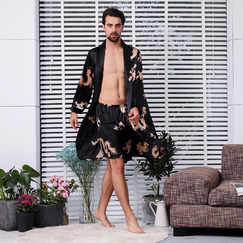 Terno de duas peças de Roupão De Seda Macho Extra Grande Robe Com Dragões Dos Homens de Cetim Roupão De Seda Kimono Homens 1287 T2190612