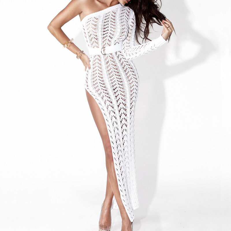 Iasky 2018 Crochet One Shoulder Beach Long Dress Sexy Women Hollow Out Cover Ups High Split Bikini Swimsuit Cover Up Tunic Y19071801