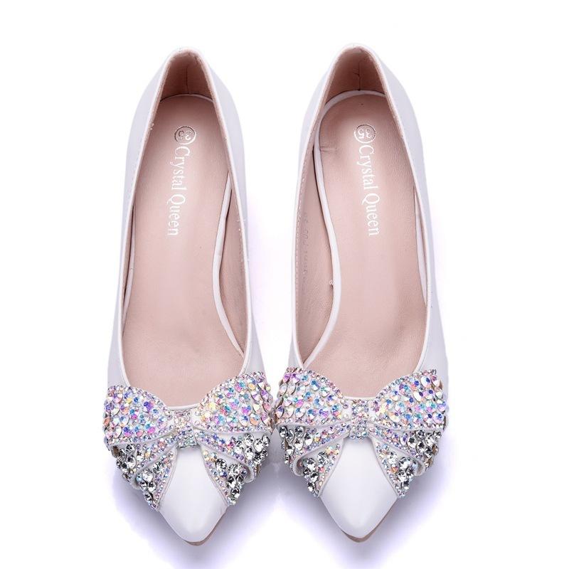 Handsome2019 Code à talons hauts va chaussures fines avec 5 Centimeter Bow strass célibataire chaussures de femmes
