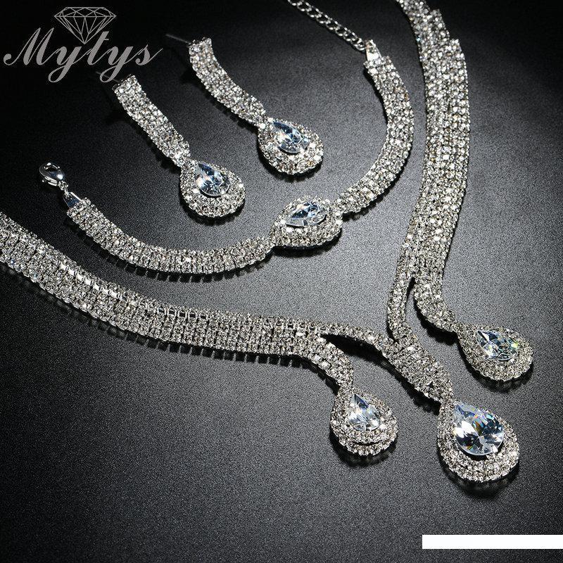 Gold Red Rhinestone Crystal Bridal Wedding Necklace Earrings Set N158