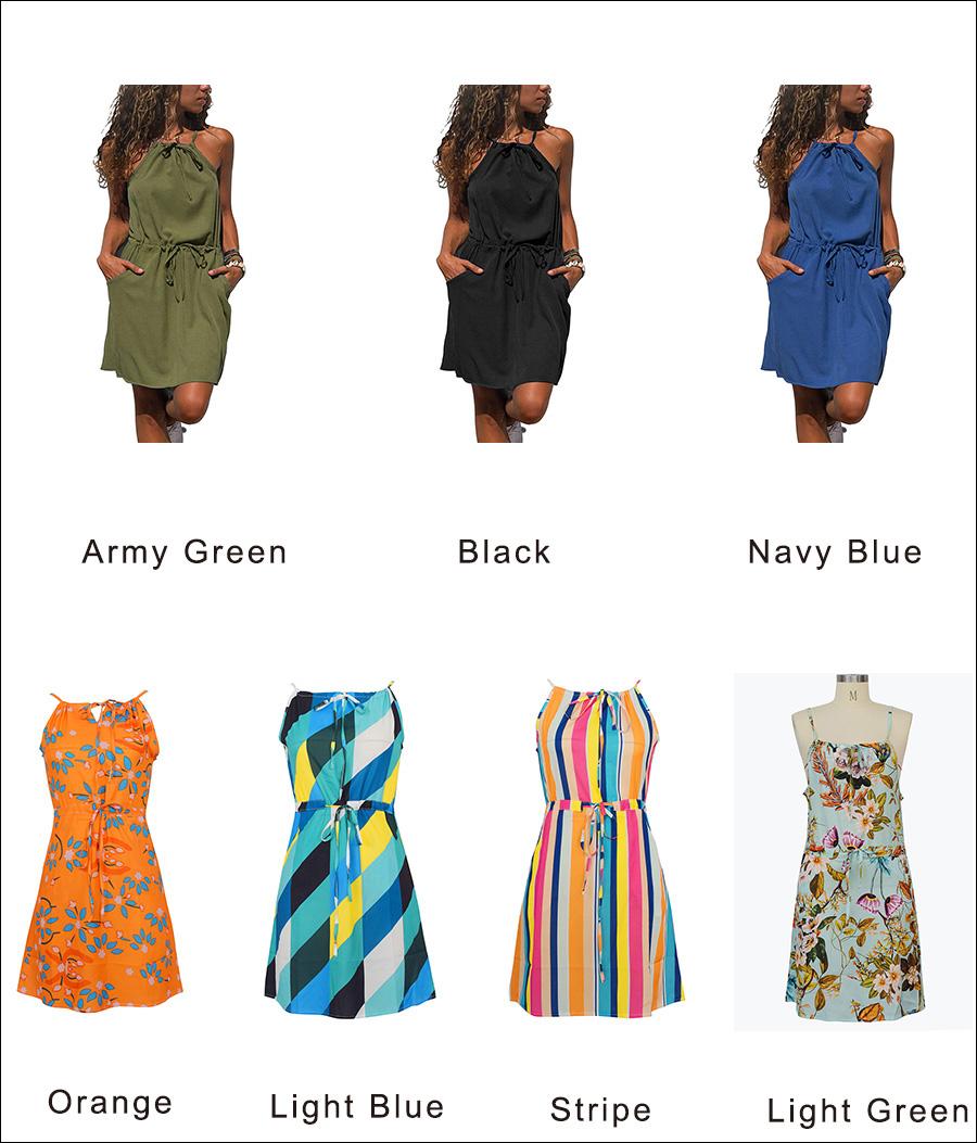 Gladiolus Chiffon Women Summer Dress Spaghetti Strap Floral Print Pocket Sexy Bohemian Beach Dress 2019 Short Ladies Dresses (50)