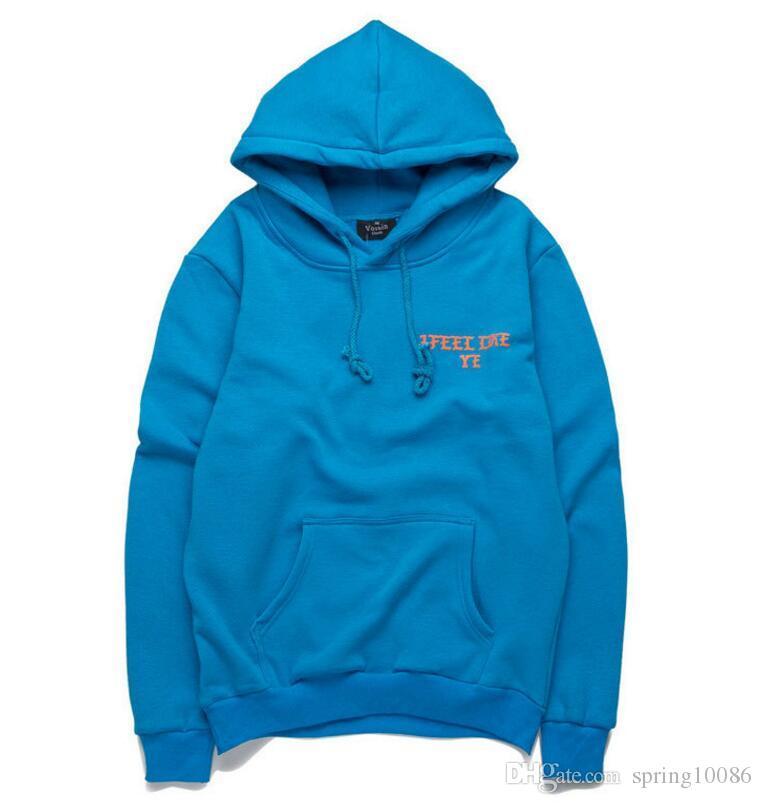 Men's Hooded Tide brand new autumn and winter KANYE Kanye I Feel Like PABLO letters plus velvet hooded head sweater coat jacket