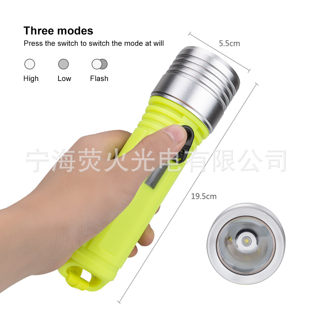 New Pattern Led Major L2 Diving Flashlight Outdoors Waterproof Lighting Light Diving Flashlight 10w Diving To