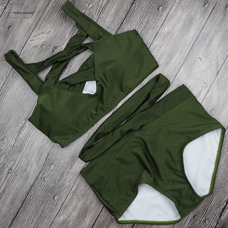 High Waist-Bikini-Badeanzug Push-Up Swimwear Grün Schwarz Rot Frauen Brazilian Bikini Bandeau Halter Anzug Biquini