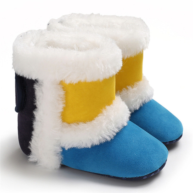 1 Pair Baby Girl Boots Baby Girl Splicing Soft Sole Snow Boots Soft Crib Warm Shoes Toddler winter Boots bota infantil D10 (7)
