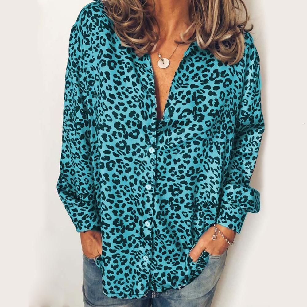 2019New Herbstfrauen-Shirt Designer Leoparddruck beiläufige große Größe Langarm-Shirt