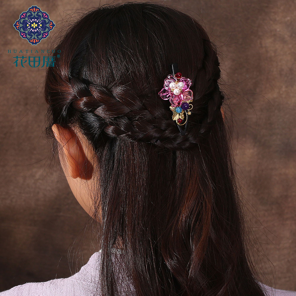 Ethnic Copper Vine and leaf Lamp work flower Hair Pin for Women Pink Flower Lampwork petals Pearl copper vine and Leaf FJ-18018