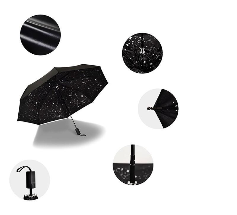 Fashion Black Stars Women Umbrella Three Fold Wind Resistant Anti UV Sun Umbrella Sunny And Rainy Dual-use Male Parasol6