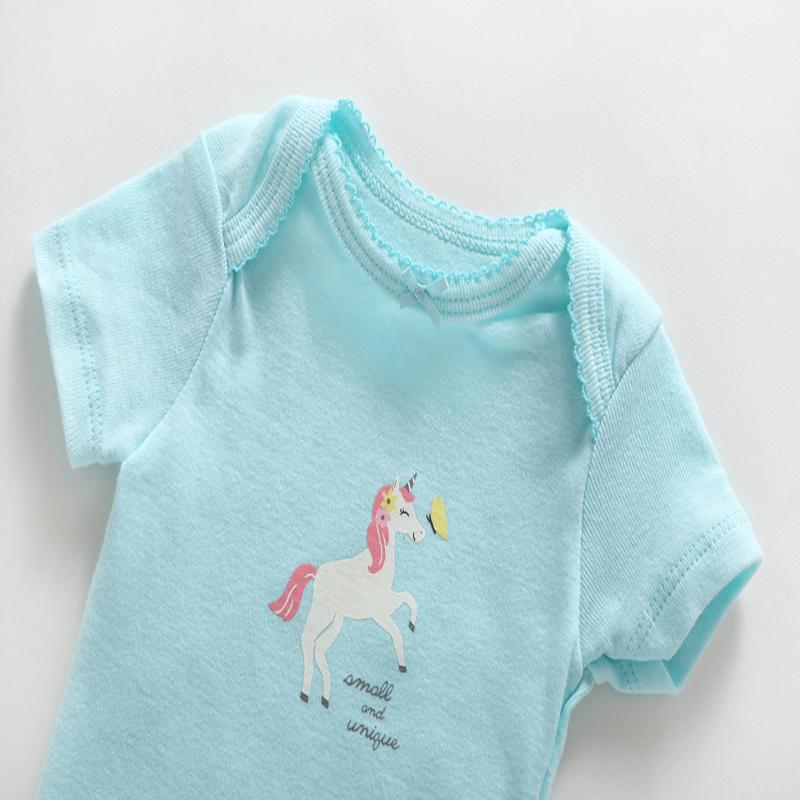 6-24 Ay Yenidoğan Kıyafetler 3 Parça Giyim Seti Bebek Erkek Bebek Kız Için Sevimli Karikatür Unicorn Bodysuit + romper + pantolon Pamuk Y19050801