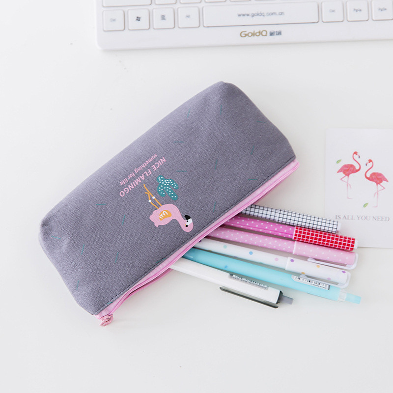 Simple Cute Flamingo Cactus Canvas Pen Pencil Bag Cosmetic Bags Wedding Favors and Gifts Birthday Party Decorations Kids Gifts.Q C18122201