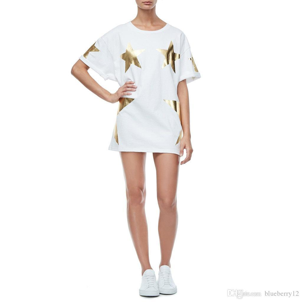 Summer Oversized Dress Plus Size Casual T Shirt Dresses O Neck Short Sleeves Design Gold Silver Leather Star Patterns Cool Girl Style