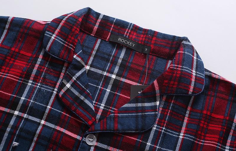 Nuovi pantaloni 100% cotone Autunnowinter pantaloni a maniche lunghe pigiama Suit Red Plaid Flanella pigiameria velluto morbido abbigliamento Set J190613