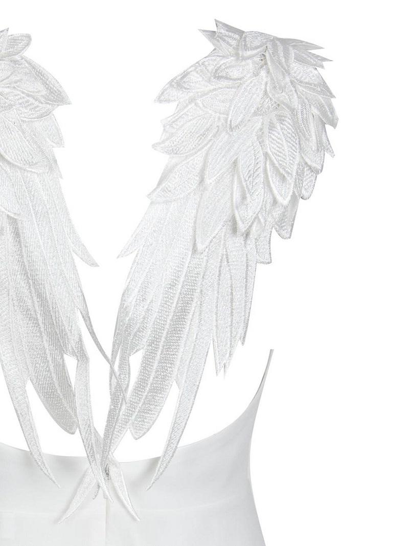Mulheres Designer roupas de festa Branca Vestidos Mulheres Verão bordado do vestido de Femme asas do anjo gótico Vestidos De Backless Clube Xs