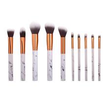 10 pcs / set Marbre Maquillage Brosses Blush Poudre Sourcils Eyeliner Highlight Concealer Contour Fondation Make Up Brush Set