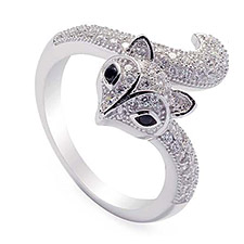 925 Silver CZ Fox aesign Rings