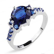 Blue Sapphire White Gola Rings