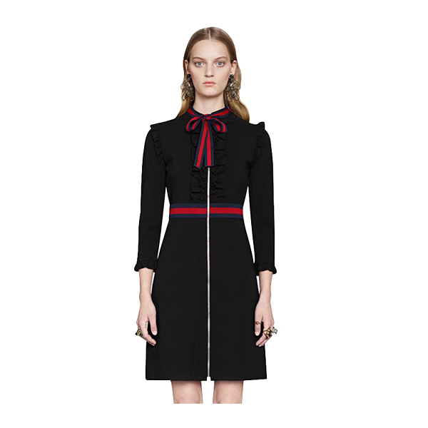 Runway Dress Black Long Sleeves Bow