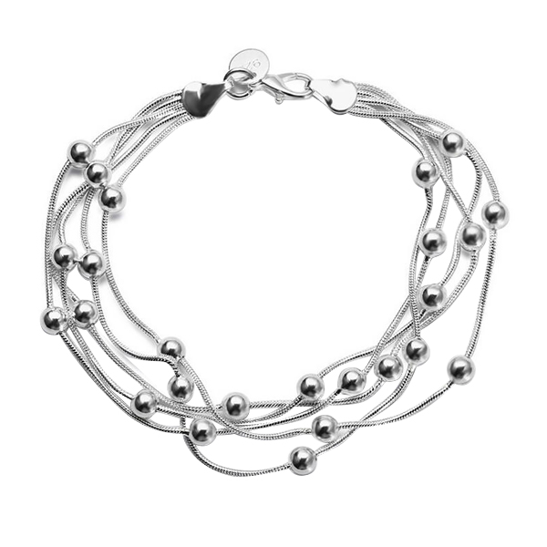 Nice silver plated women bracelet multilayer
