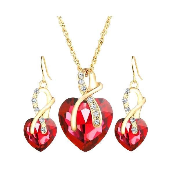 1Set luxury heart-shaped earrings necklace