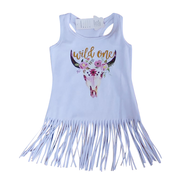 Boho Babe Bull Dress Fringe Girls Dresses Glitter Gold Wild One Tassels Dresses for Baby Girls White Fringe Dress Boutique Girls Clothes