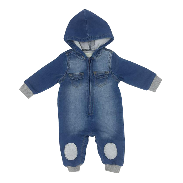 Baby Boys Romper Denim Hooded Long Sleeve Patch Cotton Spring Autumn Winter Infant Bodysuit Children Clothes