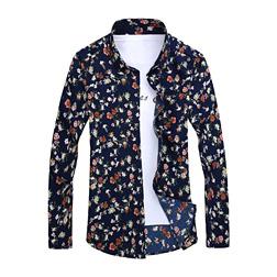 Retro Floral Printed Man Casual Shirts Fashion