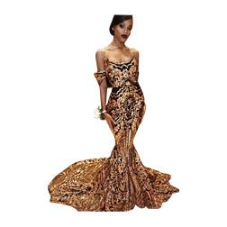 2018 New Luxury Gold Black Prom Dresses Mermaid