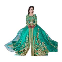 Long Sleeved Emerald Green Muslim Formal Evening Dress