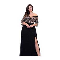 Black Lace Plus Size Prom Dresses With Half Sleeves Off