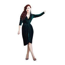Emerald Green Velvet Evening Dresses Knee Length