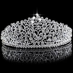 Gorgeous Sparkling Silver Big Wedding Diamante Pageant Tiaras Hairband