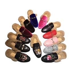 Designer Genuine Leather Loafers Fur Muller Slipper