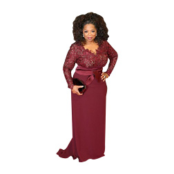 2018 Oprah Winfrey Burgundy Long Sleeves