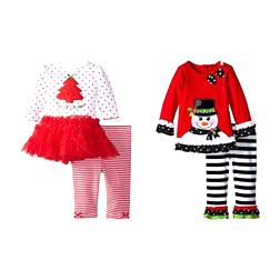 Girls Christmas Tree T-shirt + Ruffle Pants 2pcs Set