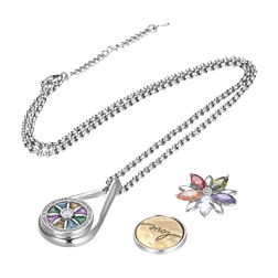 VOCHENG NOOSA Ginger Snap Button Jewelry Snap Charms Necklace 18mm Pendant with Stainless Steel Chain NN-628