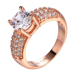 Cubic Zirconia CZ Diamond Rings Wholesale Silver Color Platinum/Rose Gold Plated Crystal Wedding/Engagement Jewelry For Women/Girls DFR070