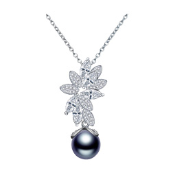 LUOTEEMI New Statement Het Selling Single Round Gray Imitation Pearl with CZ Flower Pendant Necklace for Women Christmas Gift