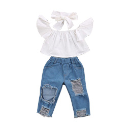 3PCS Set Cute Baby Girls New Fashion Children Girls Clothes Off shoulder Crop Tops White+ Hole Denim Pant Jean Headband 3PCS Toddler Set
