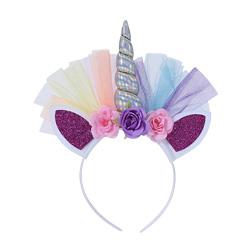 2018 HOt Unicorn Childrens Party Hat Horn Flowers Glitter Hard Headband Spiral Unicorn Horn