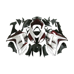 Wine red white and matte black painted custom plastic injection molding fairing Kawasaki ZX6R 2007 - 2008 37