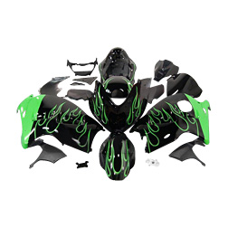 Black with green flames Injection molding custom painted fairing Suzuki Hayabusa GSX1300R 97-07 172