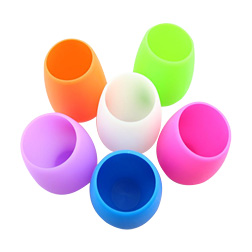 20pcs Hot silicone wine glass colored stemless silicone cup unbreakable soft egg shape red wine glasses 400ml drinkware