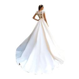 2019 Short Sleeve A Line Satin Lace Beach Wedding Dresses Gorgeous Appliques Princess Court Train Bride Gown Vestido de Noiva