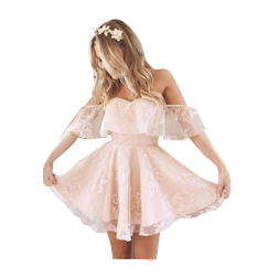 Lovely Off Shoulder Lace Pink Cocktail Party Dresses Little Short Prom Dress A Line Pleats Mini Backless Homecoming Gowns