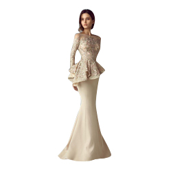 Champagne Lace Stain Peplum Wear Prom Dresses 2018 Sheer Neck Long Sleeve Dubai Arabic Mermaid Long Evening Formal Gowns